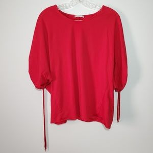 Zara medium Dolman sleeves Ruched back Tee Top